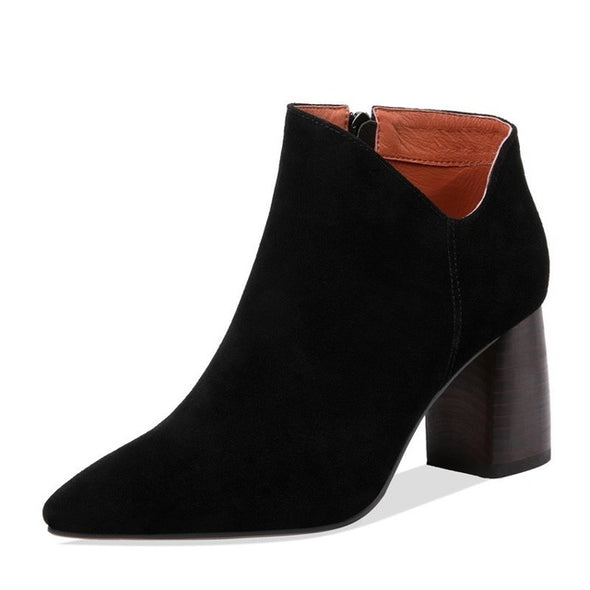 Women Round Heel Ankle Boots Cow Suede - Go Love Shoes