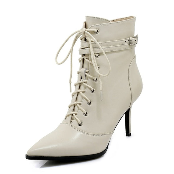 Pointed Leather Boots Toe lace-Up - Go Love Shoes