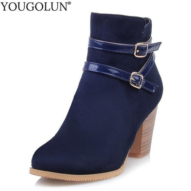 Ankle Boots Women Autumn Winter Ladies Zipper Round toe - Go Love Shoes