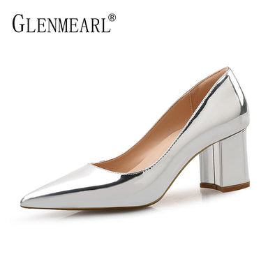 Patent Leather Thick High Heels for Women - Go Love Shoes