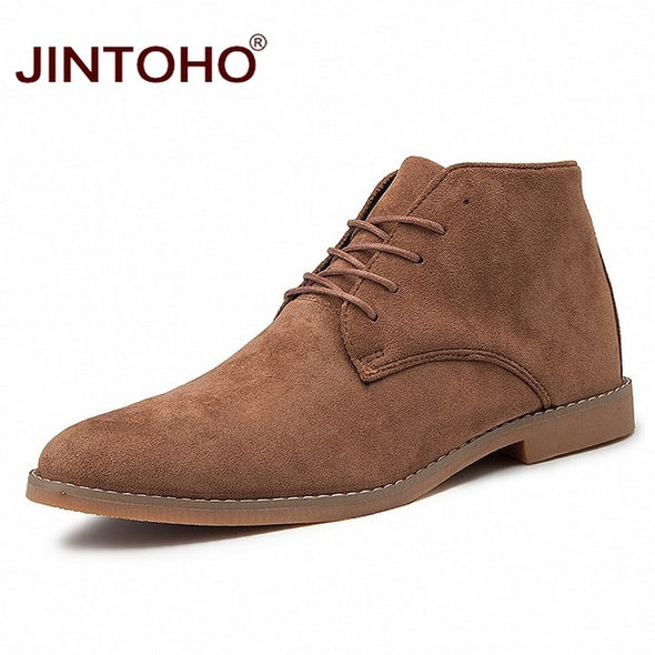 Men Pointed Toe Leather Boots - Go Love Shoes