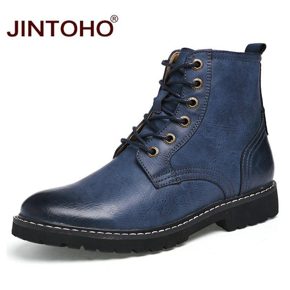 Men Leather Boots Pointed Toe - Go Love Shoes