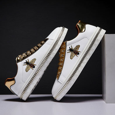 Glitter Embroidery Golden Men Sneakers - Go Love Shoes