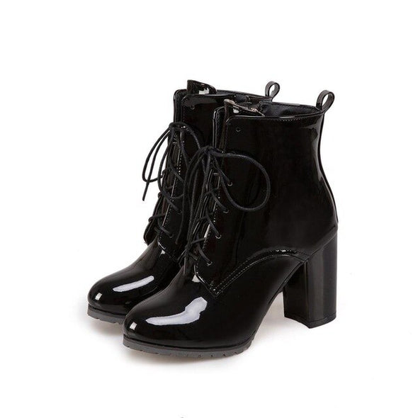 Ankle boots patent leather for women - Go Love Shoes