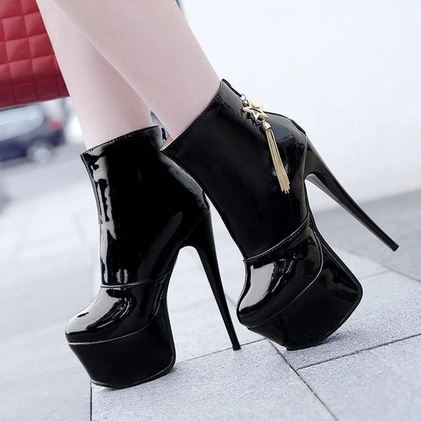 High Heels Ankle Boots For Women Platform PU Leather - Go Love Shoes