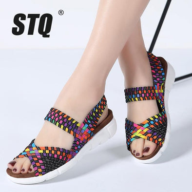 Flat Woven wedge Sandals - Go Love Shoes