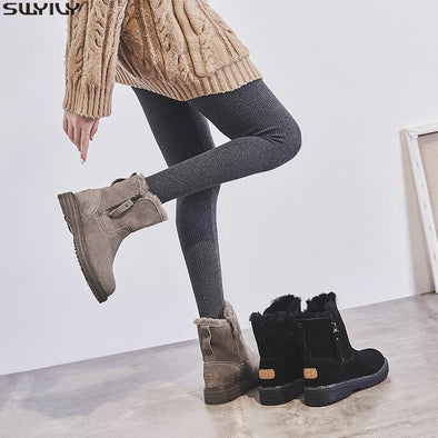Leather Warm flat Boots for women - Go Love Shoes