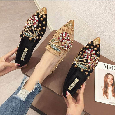 Woman crystals Rhinestone loafers Sandals - Go Love Shoes