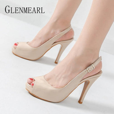 Women High Heels Party Platform Shoes Fish Mouth - Go Love Shoes