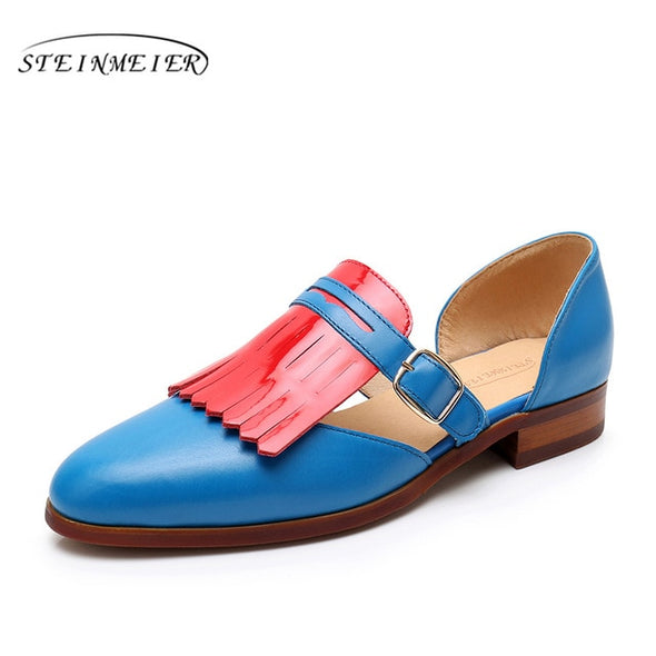 Women Sandals Flat Genuine leather brogues Vintage - Go Love Shoes