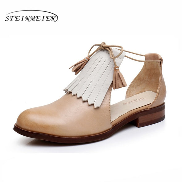 Flat Genuine leather brogues Vintage Sandals - Go Love Shoes