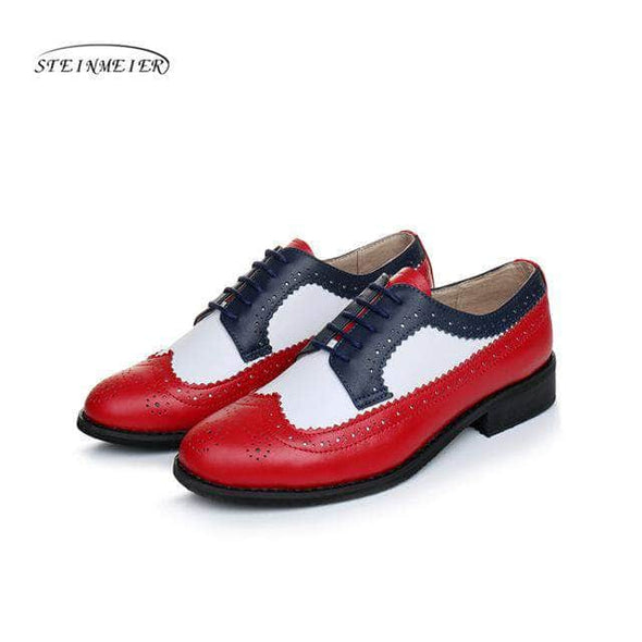 Women genuine leather oxford shoes woman flats handmade vintage retro lace - Go Love Shoes