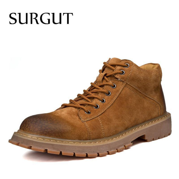 Men Working Shoes Male Retro Sewing Lace-Up Comfortable Breathable - Go Love Shoes
