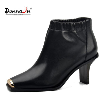 High heels Platform Genuine Leather Black Metallic Square Toe Shoes - Go Love Shoes