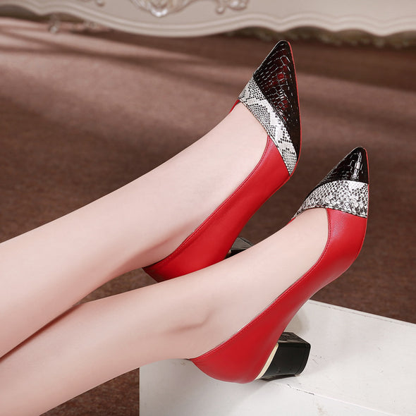 Square Heels Pointed Toe women's heels Leather Pump Wild Slip On Shoes - Go Love Shoes