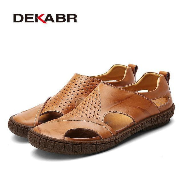 Men Sandals Split Leather - Go Love Shoes