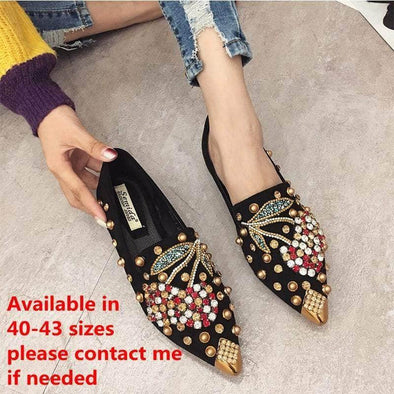 Woman Flats Shoes Rhinestone Cherry Metal Pointed Toe - Go Love Shoes