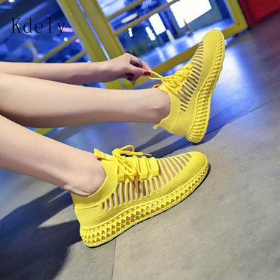 Yellow Knitted Breathable Casual Shoes - Go Love Shoes
