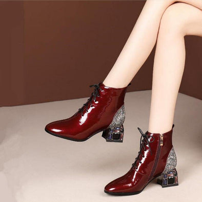 Ladies Womens Red//Brown Patent Leather Ankle Lace Up Shoes