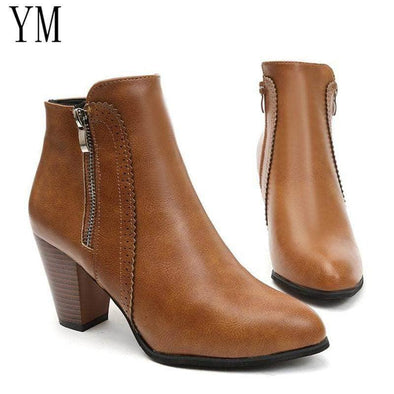 Ankle Boots Fashion PU leather Boots High for Women - Go Love Shoes