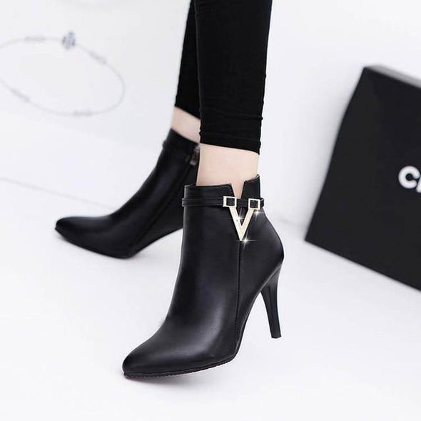 Stiletto Thin High Heels Zipper Style Pointed Toe Faux Leather - Go Love Shoes