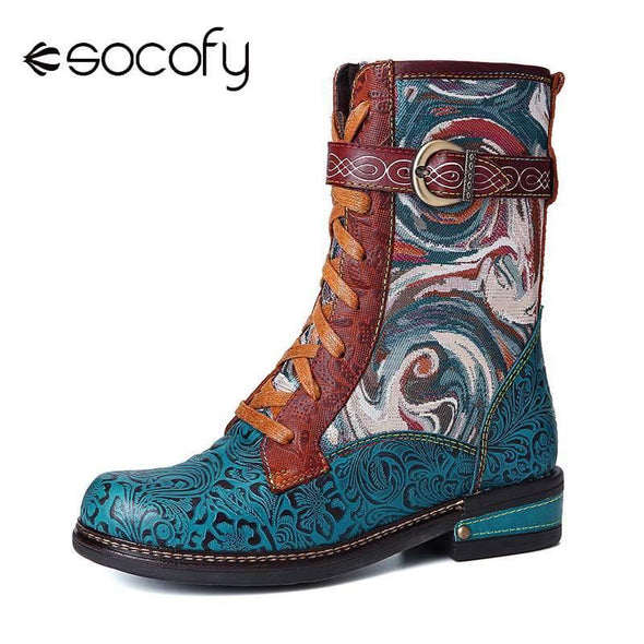 Embossed Genuine Leather boots Fancy Pattern Lace Up - Go Love Shoes