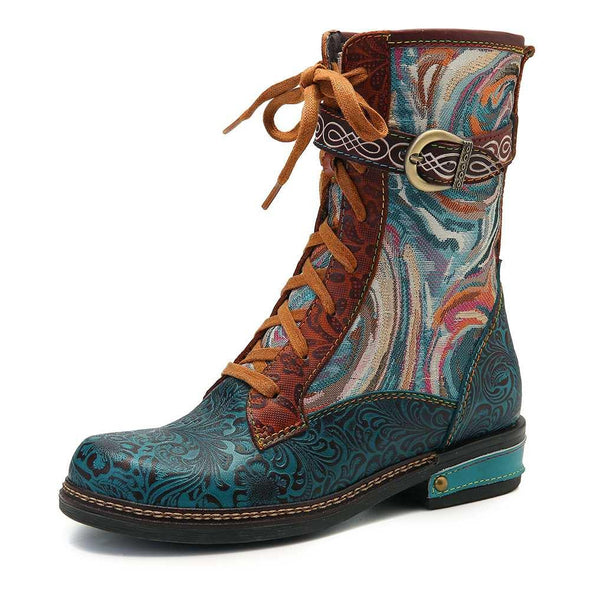 Genuine Leather Fancy Pattern boots - Go Love Shoes