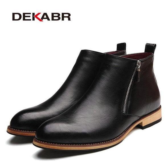 Men Boots Comfortable Black Winter Warm Waterproof Fashion Ankle Boots - Go Love Shoes