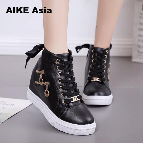 Women Wedge Platform Rubber Brogue Leather Lace up - Go Love Shoes