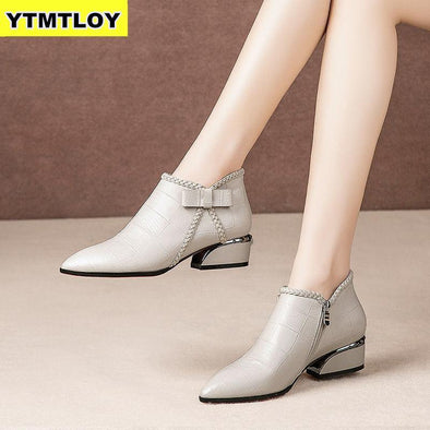 Ankle Boots Women Platform Lace Up Buckle Shoes Thick Heel - Go Love Shoes