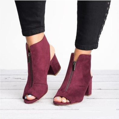 Ankle Boots Faux Suede Leather Casual Open Peep Toe - Go Love Shoes