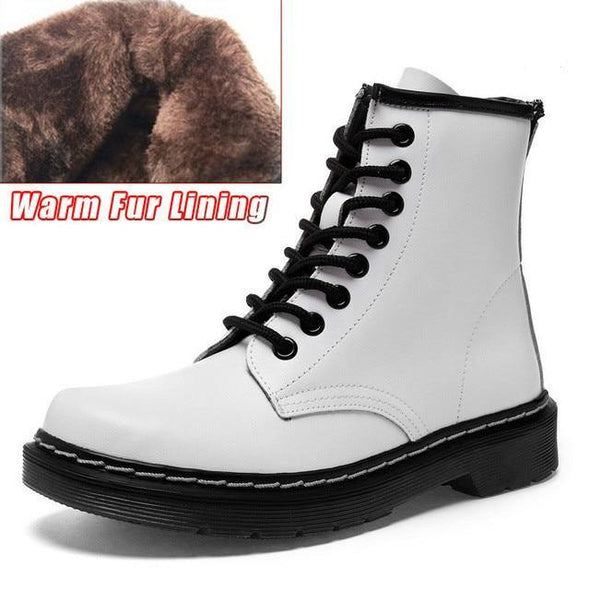 Genuine Leather Women white ankle Boots - Go Love Shoes