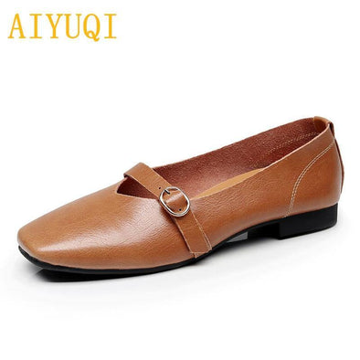 Women flat Genuine Leather Shoes - Go Love Shoes