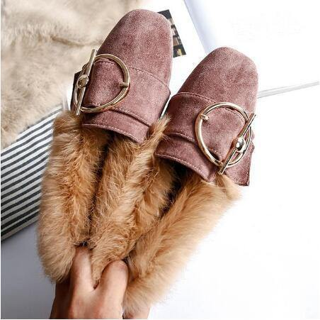 Leather Wool Winter Flat Shoes Woman Warm Snow Moccasins - Go Love Shoes