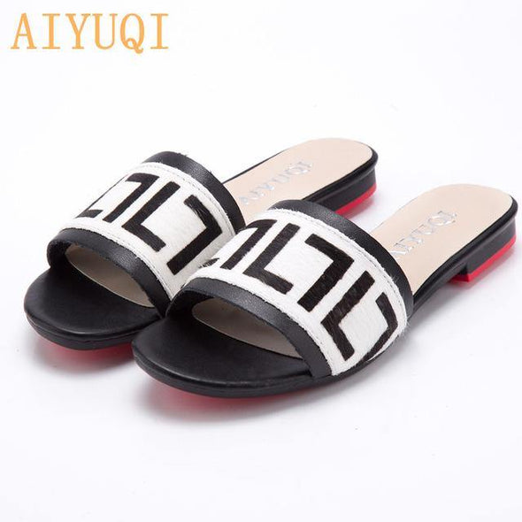 Women Slippers 2020 New summer Genuine Leather Flat - Go Love Shoes