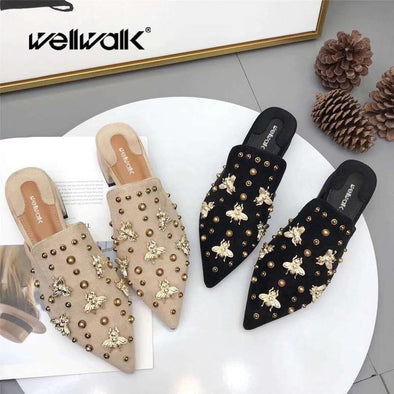 Women Golden Bee Shoes Mules Rivet - Go Love Shoes