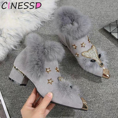 Boots Women Pointed Metal Ankle Crystal Fox Pattern - Go Love Shoes