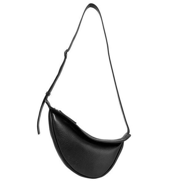 Wide Single Strap Zipper Half Moon PU Leather Chest Bag - Go Love Shoes