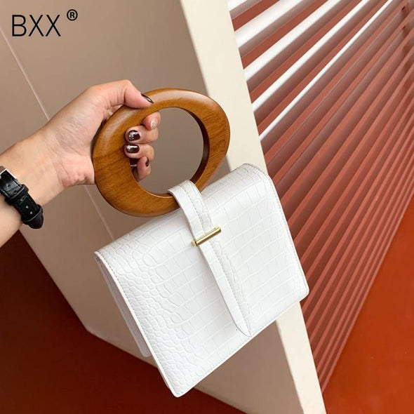 Round Wood Handle Flap Handbag - Go Love Shoes