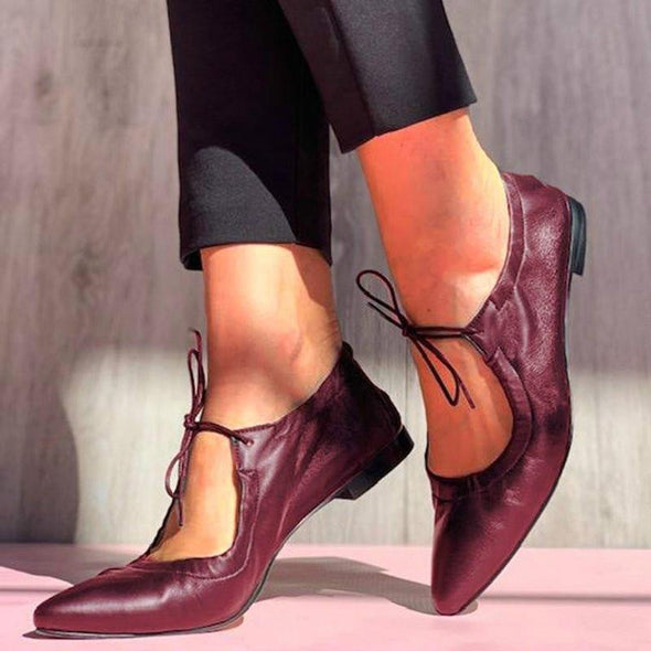 Leather Low Square Heels-US - Go Love Shoes