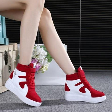 High top shoes emery leather shoes color women's - Go Love Shoes