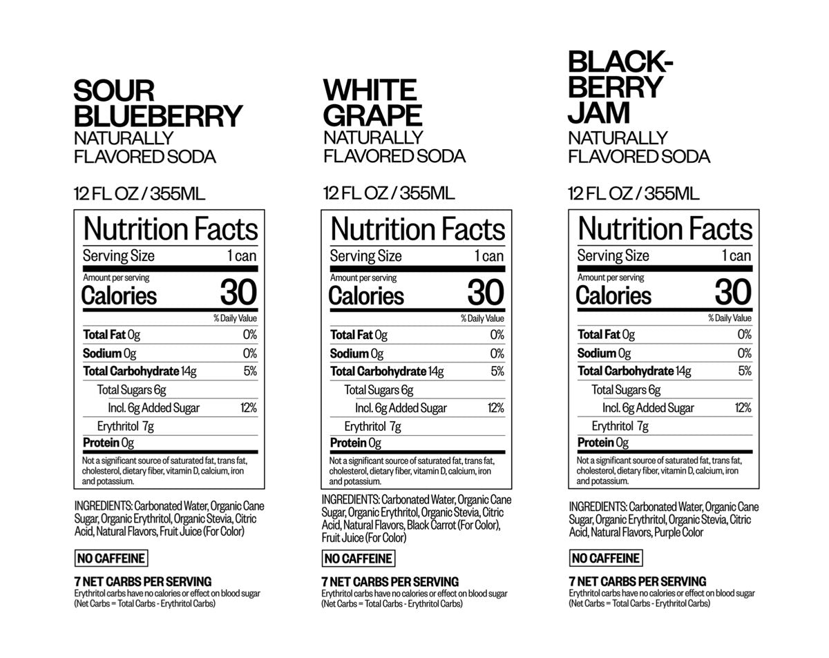 THE BLUES nutritional information