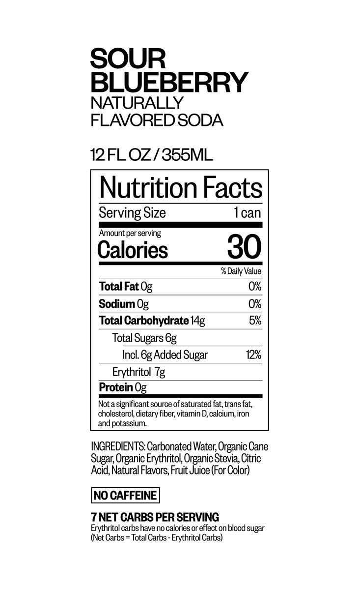 Sour Blueberry nutritional information