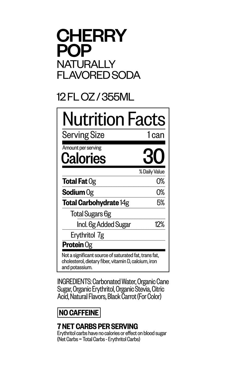 CHERRY POP nutritional information