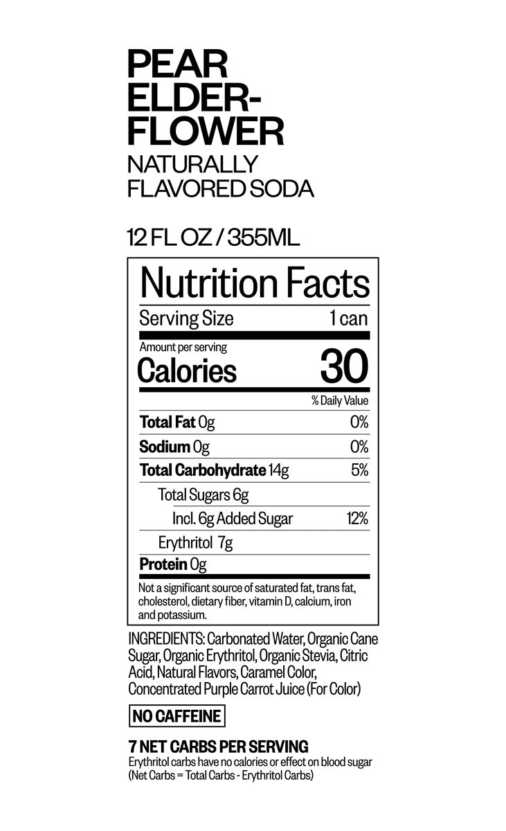 PEAR ELDERFLOWER nutritional information