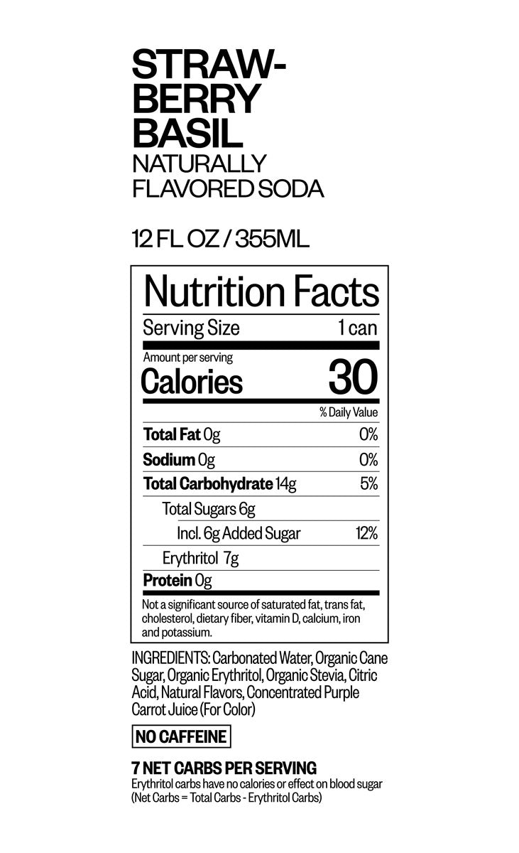 STRAWBERRY BASIL nutritional information