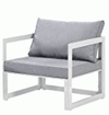 White Frame Arm Chair w/ Grey Cushions