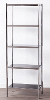 5 Shelf Chrome Black Glass