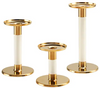 Candle Holder - Pillar Gold & Cream Various