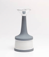 Candle Holder - Grey w/ White Stripe 7""